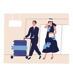 People passenger at airport depart arrival vector