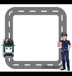Policeman with road track vector