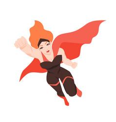 portrait of flying superwoman or superheroine vector image
