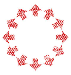 radial arrows fabric textured icon vector image