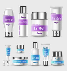 Realistic professional cosmetic packaging set vector