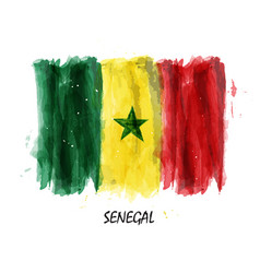 realistic watercolor painting flag of senegal vector image