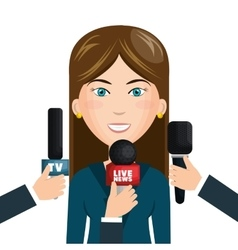 reporter live news isolated icon vector image