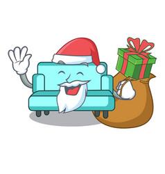 Santa with gift sofa mascot cartoon style vector