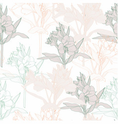 Seamless background with line pastel alstroemeria vector