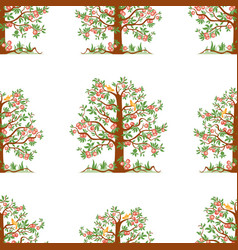 seamless pattern apple trees with ripe apples vector image