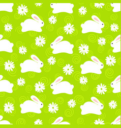 seamless pattern of cute white bunnies on green vector image