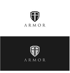 security shield armor with initial letter aa vector image