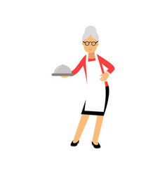 senior woman character standing and holding vector image