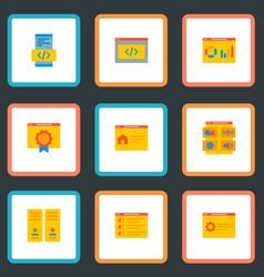 set development icons flat style symbols vector image