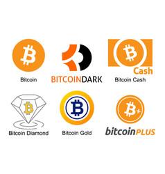 set logos bitcoin cryptocurrencies vector image