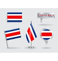 Set of costa rican pin icon and map pointer flags vector