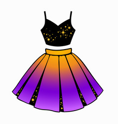 Set womens clothing top and skirt vector