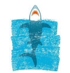 Shark in ocean blue waves background vector