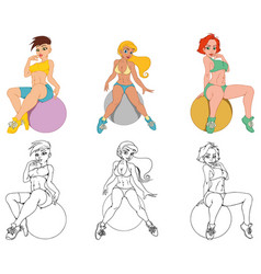 Sports girl on fitball vector