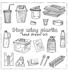 Stop using plastic hand drawn doodle set isolated vector