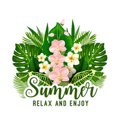 Summer tropical holiday floral poster design vector