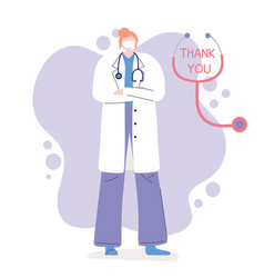 Thank you doctors and nurses female physician vector