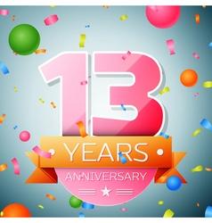 Thirteen years anniversary celebration background vector image
