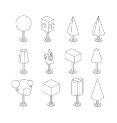 Trees isometric icon set isolated on a white vector