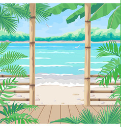 Tropical background with terrace on sea coast vector