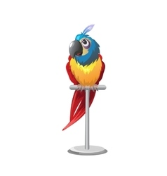 Tropical colorful parrot sitting on perch vector image