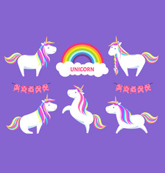 unicorn magic creature decorative clouds vector image