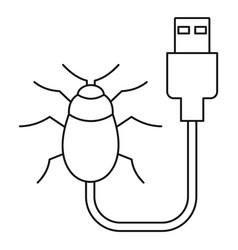 usb bug icon outline style vector image