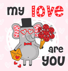 valentine elephant with bouquet of flowers vector image
