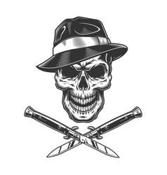 vintage gangster skull in fedora hat vector image