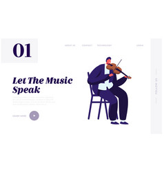 violinist playing on violin website landing page vector image