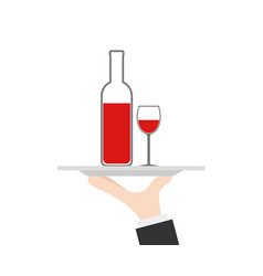 waiter tray on hand with wine bottle and glass vector image