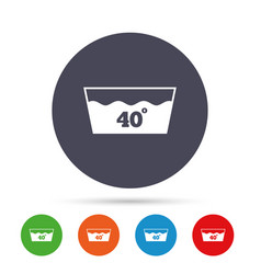 wash icon machine washable at 40 degrees symbol vector image