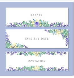 Watercolor flowers with text banner lush flowers vector