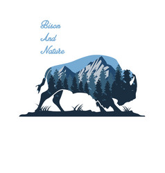 wild bull and nature vector image