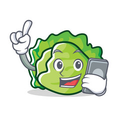 With phone lettuce character cartoon style vector