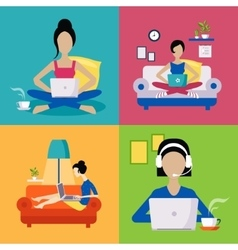 Women working freelance set vector