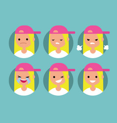 young blonde girl wearing pink cap profile pics vector image