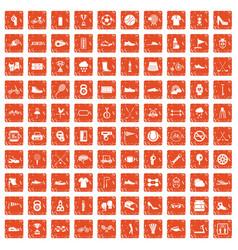 100 sneakers icons set grunge orange vector image