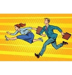 Businessman and businesswoman running competition vector image vector image