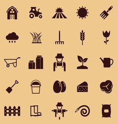 Farming color icons on brown background vector image