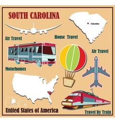Flat map of South Carolina vector image vector image
