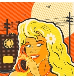 Pop Art Style Girl With Phone vector image