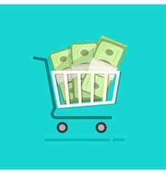 Shopping cart full pile of paper money vector image vector image