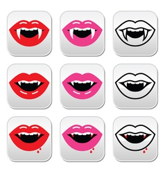 Vampire mouth vampire teeth buttons set vector image