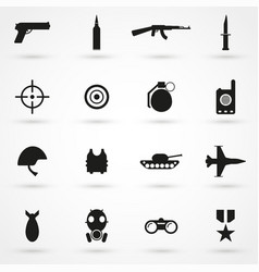 war icons set black on white background vector image