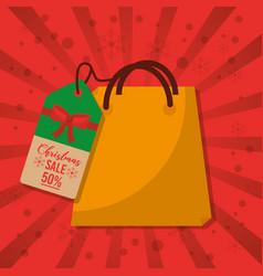 christmas sale bag gift price tag marketing red vector image vector image