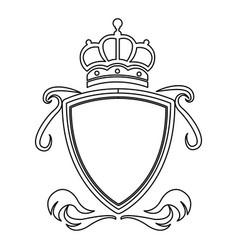 shield crown decoration royal heraldic ornament vector image vector image
