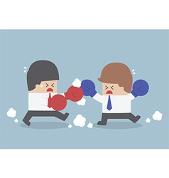 Two businessmen having a fight with boxing gloves vector image