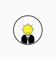 business man logo with idea light bulb head vector image vector image